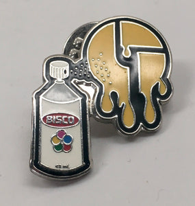Bisco Spraypaint Pin (Silver, Yellow, Vintage 2009)
