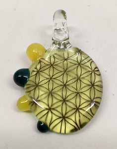 Sacred G Glass Pendant (Yellow, Green, Blue)