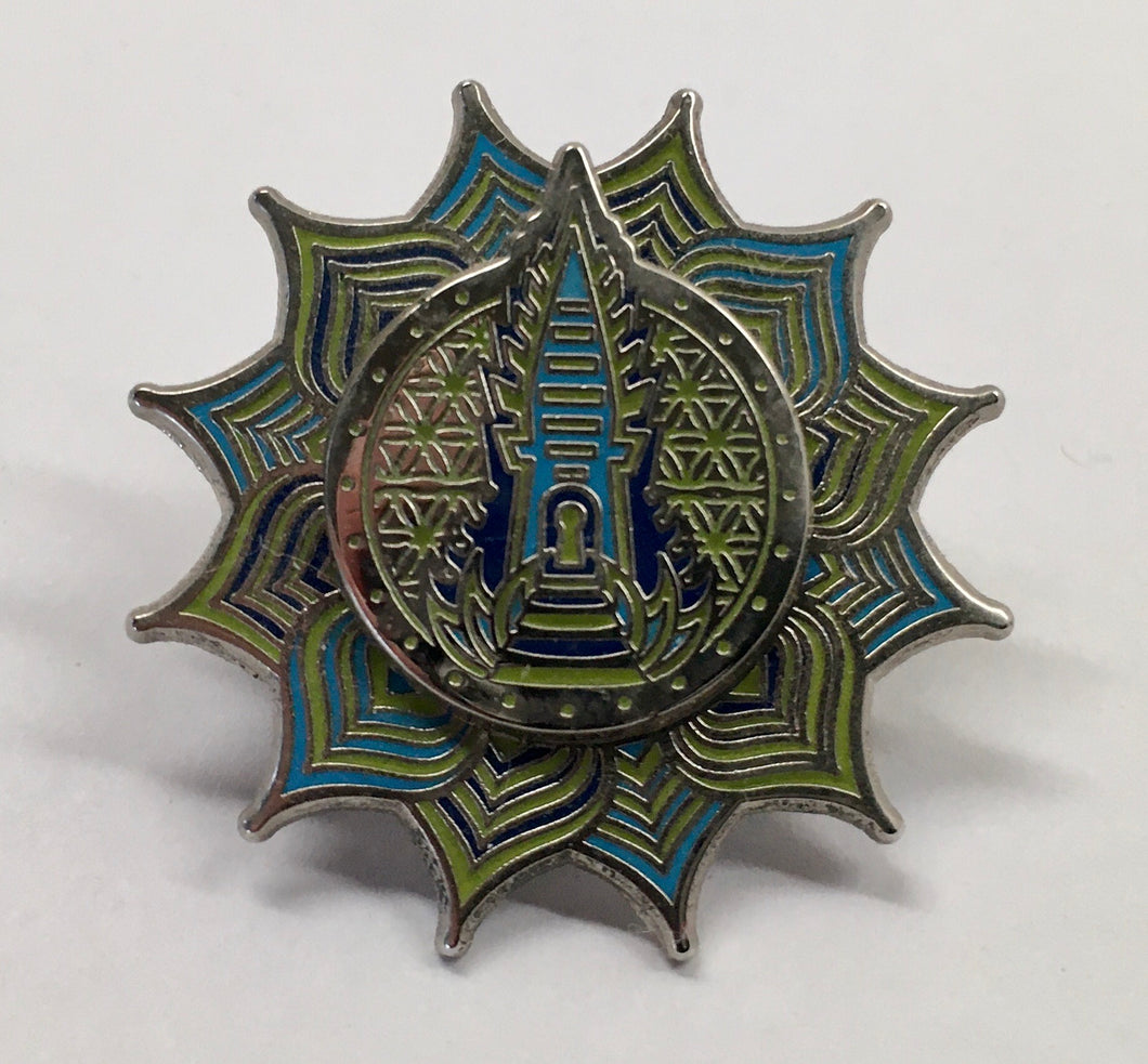 Sacred G Lotus Temple Spinner Pin (Vintage, Rare)