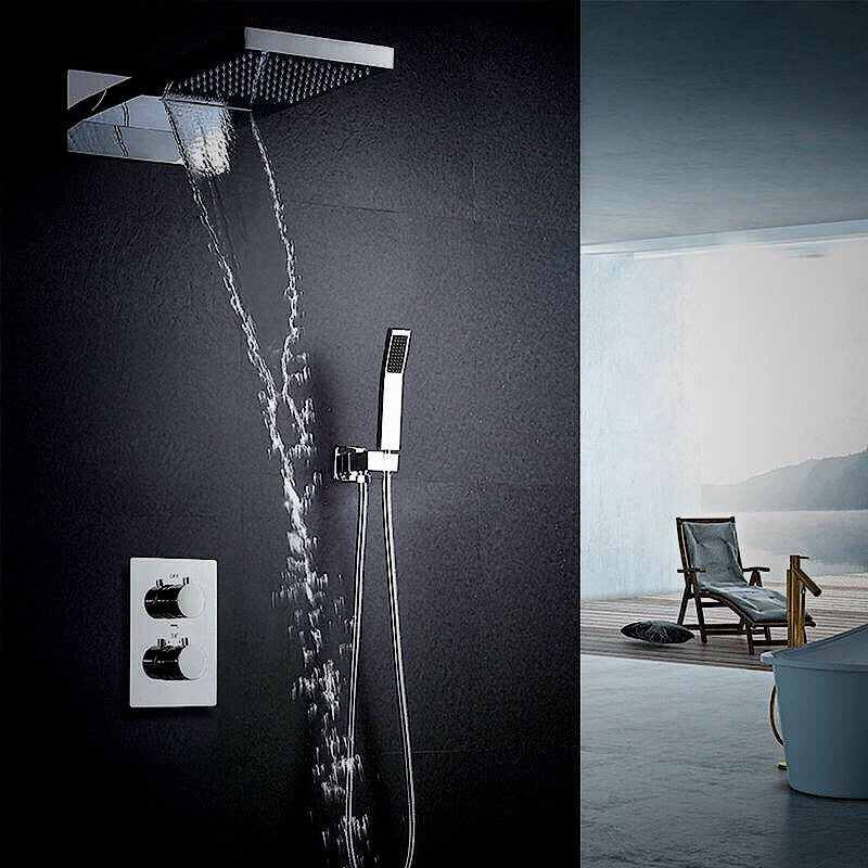 "22"" LED Shower Head Water Saving Shower Waterfall SPA Shower Set Thermostatic Mixer Valve Rain & Waterfall Bath & Shower Faucets"
