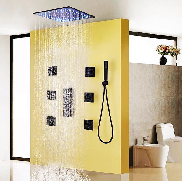 Bathroom Shower and Rain Ceiling Water Temperature LED Shower System