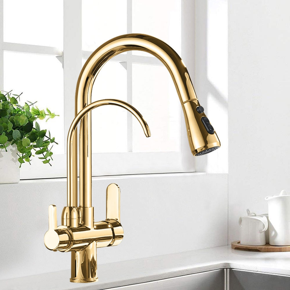 Black and Golden Filtered Crane For Kitchen Pull Out Sprayer  drinking water Three Ways Water Filter Tap Kitchen Faucet hot cold