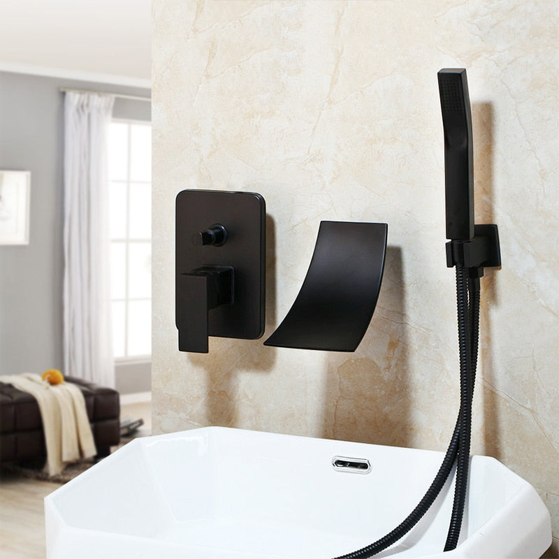 Black Painting Solid Brass Bathroom Bathtub Shower Faucet Set 1 Handle Waterfall Spout Hand Shower Set Faucets