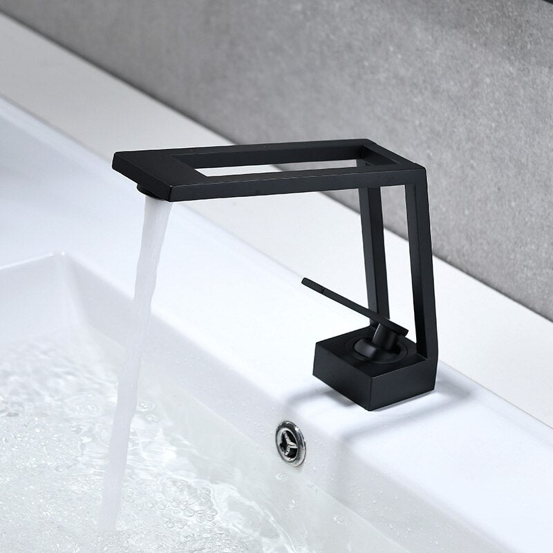 Bathroom Faucet Solid Brass Bathroom Basin Faucet Cold & Hot Water Mixer Sink Tap Single Handle Deck Mounted Black Tap Top Sale