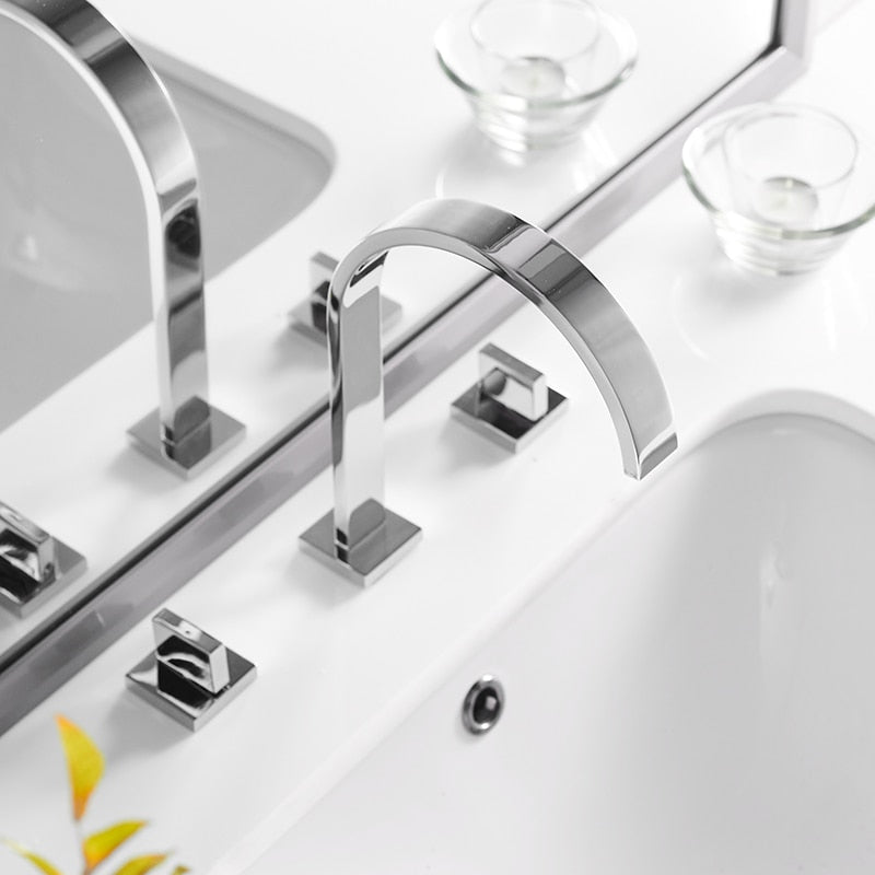 Brass Polished Chrome Deck Mounted Square Bathroom Sink Faucets 3 Hole Double Handle Hot And Cold Water Tap