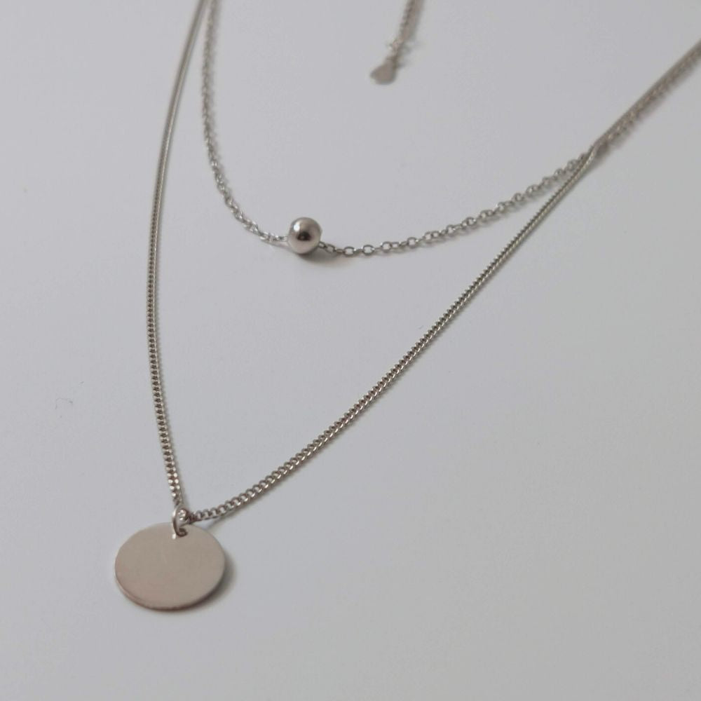 Double Chain Disc Necklace