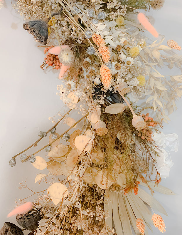 dried flowers arranged in a lovely swash
