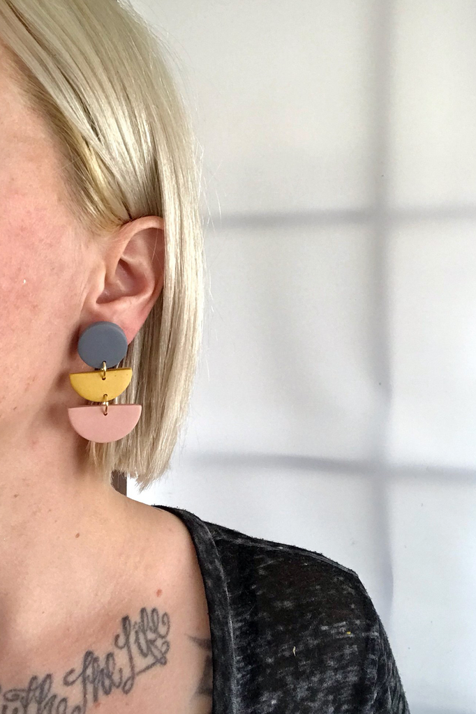 Color Block Earrings - Marigold & Pink