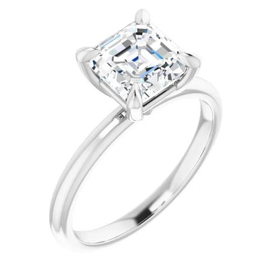 Asscher Thin Band Solitaire Engagement Ring