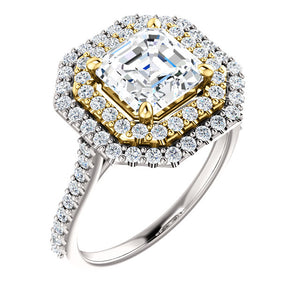 Asscher Double Halo Style Engagement Ring