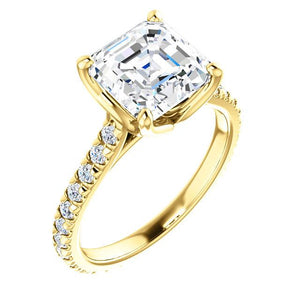 Asscher Claw Set Eternity Style Engagement Ring