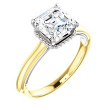 Asscher Solitaire & Hidden Halo Engagement Ring