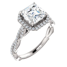 Assher Twist Halo Style Engagement Ring - I Heart Moissanites