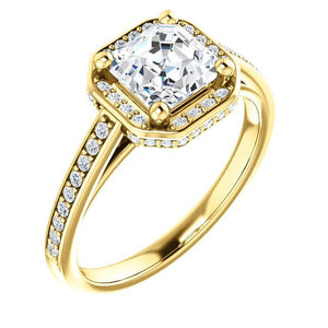 Assher Halo Style Engagement Ring - I Heart Moissanites