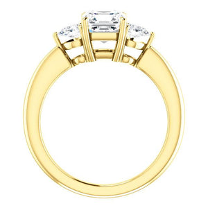 Asscher Tri -Stone Style Pear Accent Engagement Ring