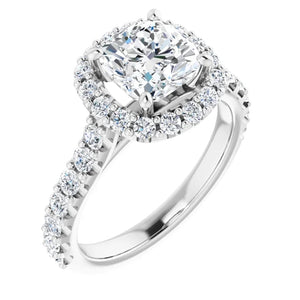 Cushion Halo Style Engagement Ring