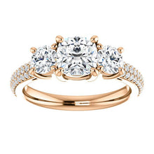 Cushion Tri -Stone Accent Engagement Ring