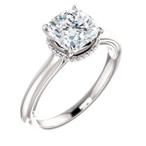 Cushion Solitaire & Hidden Halo Engagement Ring