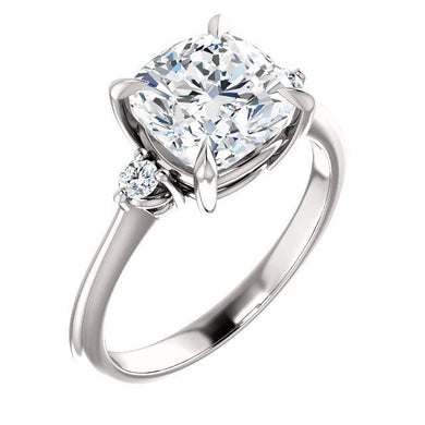 Cushion Accent Engagement Ring