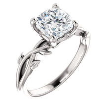 Cushion Solitaire Leaf Design Engagement Ring