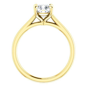 Four Claw Cushion Solitare Engagement Ring - I Heart Moissanites