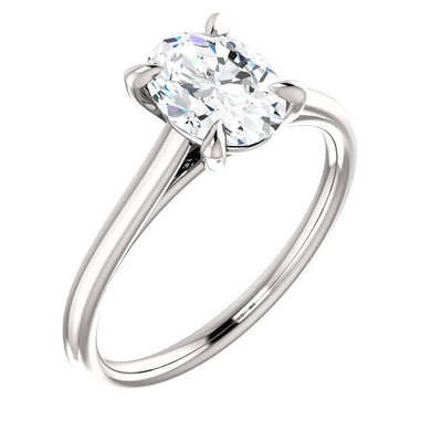 Four Claw Oval Solitare Engagement Ring - I Heart Moissanites