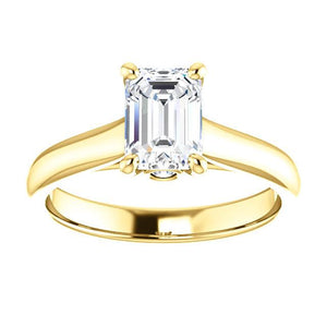 Four Claw Emerald Solitare Engagement Ring - I Heart Moissanites
