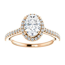 Oval Halo & Heart Style Engagement Ring - I Heart Moissanites