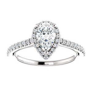 Pear Halo & Heart Style Engagement Ring - I Heart Moissanites