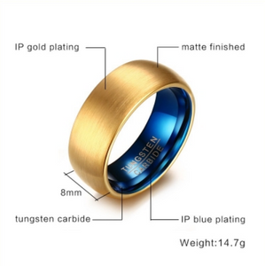 Tungsten Steel Brushed Ring With Gold Plate - I Heart Moissanites