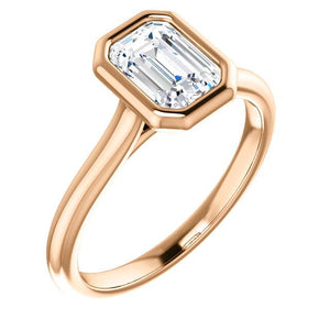 Solitaire Emerald Cut Bezel Engagement Ring - I Heart Moissanites