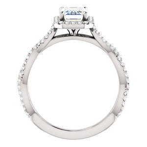 Emerald Twist Halo Style Engagement Ring - I Heart Moissanites