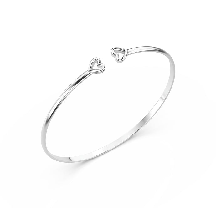 Solid Gold Heart Bangle