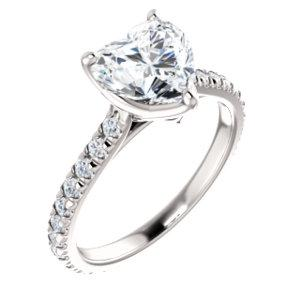Heart Claw Set Eternity Style Engagement Ring