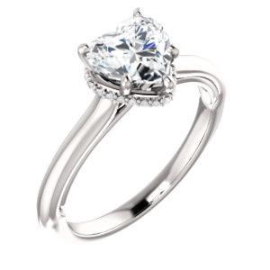 Heart Solitaire & Hidden Halo Engagement Ring