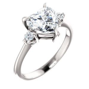 Heart Accent Engagement Ring