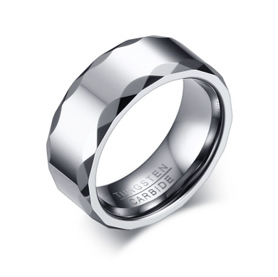 Tungsten Silver Patterned Men's Ring