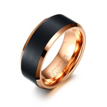 Tungsten Steel Brushed Black and Rose Gold Ring - I Heart Moissanites