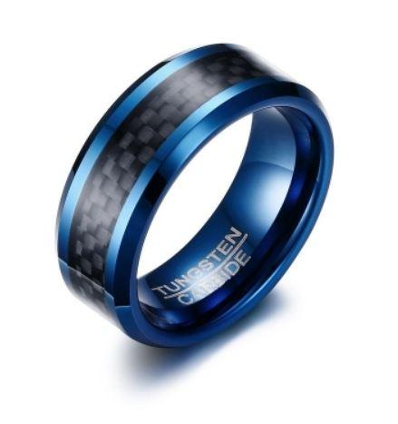 Tungsten Blue With Black Inlay Men's Ring