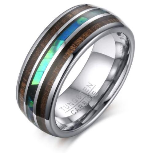 Tungsten Silver With Wood & Shell Inlay Polished Men's Ring