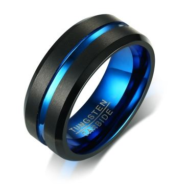 Tungsten Blue & Black Matte Finish Men's Ring