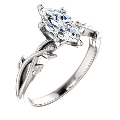 Marquise Solitaire Leaf Design Engagement Ring