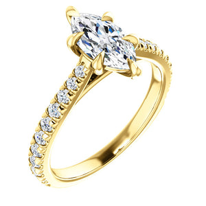 Marquise Six Claw Set Style Engagement Ring