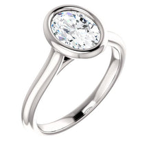 Solitaire Oval Cut Bezel Engagement Ring - I Heart Moissanites
