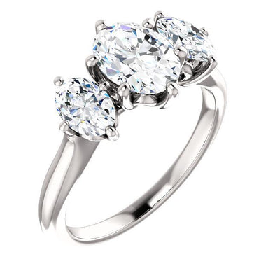 Oval Tri -Stone Style Engagement Ring
