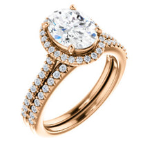 Oval Halo & Heart Style Engagement Ring