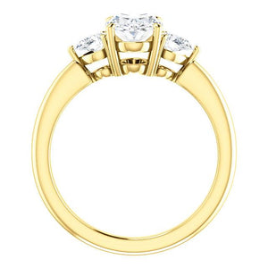 Oval Tri -Stone Style Pear Accent Engagement Ring