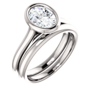 Solitaire Oval Cut Bezel Engagement Ring