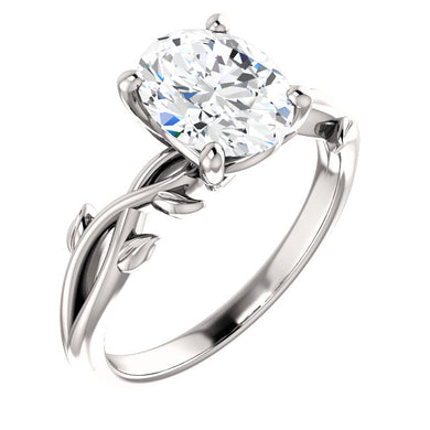 Oval Solitaire Leaf Design Engagement Ring