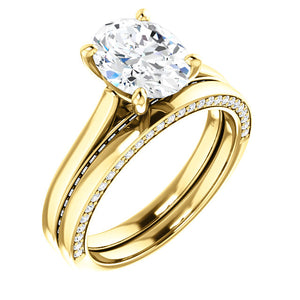 Oval Solitaire & Hidden Diamond Band Engagement Ring